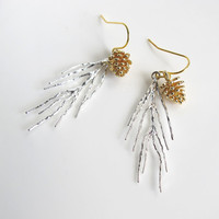Matte Silver Pine Needle Leaf with Gold Brass Pine Cone Earrings. Modern Dangle Drop Woodlands Nature Autumn Fall Winter Ear Accessories