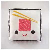 Decorative Mini Pillow, Kawaii Print, Toy Pillow - Yummy Tuna Sushi Roll