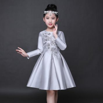 Elegant Flower Girl Dress Silver Bead Embroidery Birthday Party Dresses Wedding Long-Sleeve Toddler Princess Christening Dresses