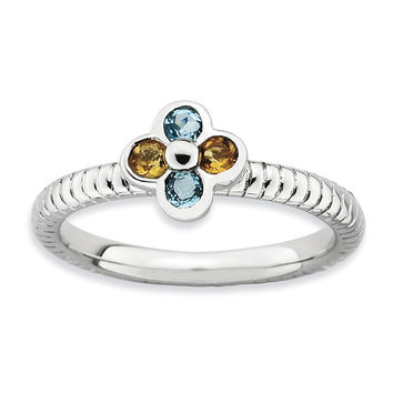 Sterling Silver Stackable Expressions Blue Topaz & Citrine Flower Ring