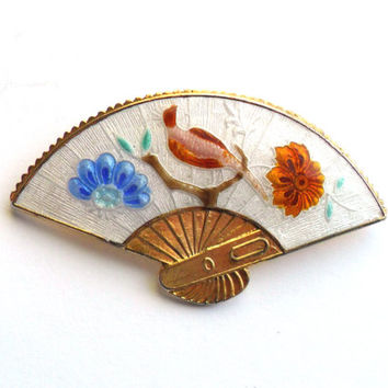 Vintage Cloisonne Fan Brooch Flower Bird Blue White Pink Orange Enamel Asian Inspired China Chinese