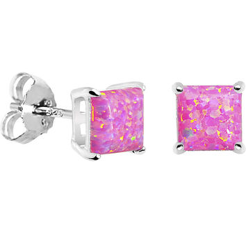 6mm Pink Square Sterling Silver Synthetic Opal Stud Earrings