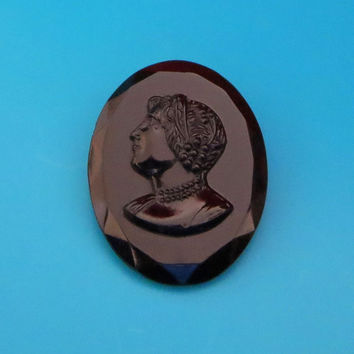 "Vintage Czech Cameo Brooch, Jet Black Glass Mourning Brooch, Signed ""Made in Imitation Czechoslovakia"", 1920s"