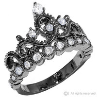 Black Rhodium-plated Sterling Silver Crown Ring / Princess Ring