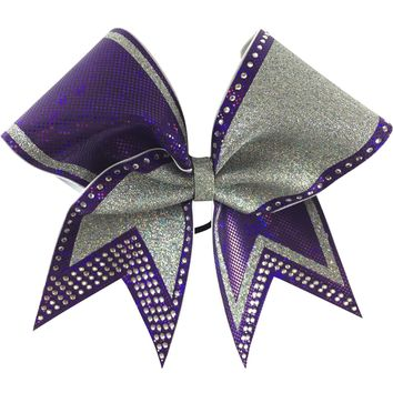 Purple and silver glitter bow with rhinestones . You can add words to the left loop.