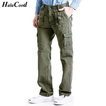 HALACOOD Hot New Fashion Sexy Top Quality Brand Men Cargo Pants Cotton Big Pockets Decoration Casual Easy Wash Male Autumn Pants