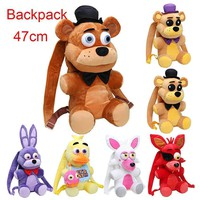 47cm  backpack  At plush Backpack Freddy Fazbear Chica Bonnie Mangle foxy backpack plush stuffed kid toy