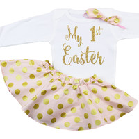My First Easter Skirt Outfit with Bodysuit, Twirl Skirt and Knotted Headband, Pink Gold Polka Dot Outfit with Gold My First Easter