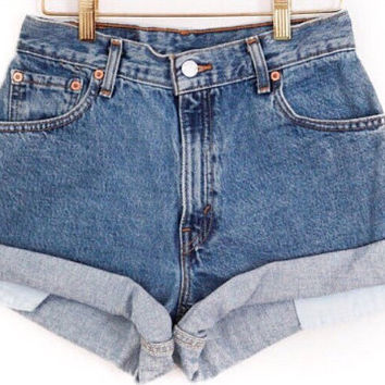 "LEVIS ONLY"" Mid-High Waist Shorts Cuffed rolled high waisted All Sizes, ALL washes levis shorts cuffed levis vintage levis"