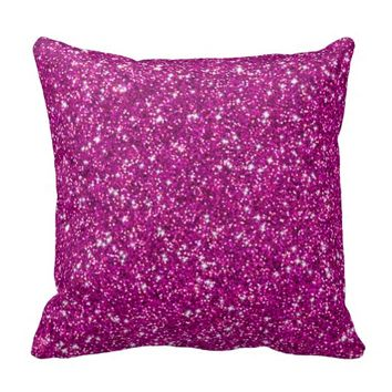 Glitter,hot pink,girly,endy,fun,modern,cute,teen throw pillows