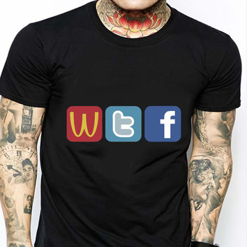 WTF Twitter Facebook HND Mens T-shirt Black and White