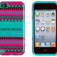 DandyCase 2in1 Hybrid High Impact Hard Hakuna Matata Aztec Tribal Pattern + Teal Silicone Case Cover For Apple iPod Touch 5 (5th generation) + DandyCase Screen Cleaner