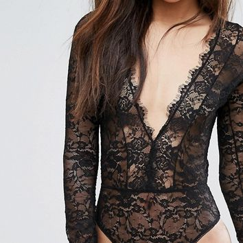 ASOS TALL Lila Eyelash Lace Plunge Body at asos.com