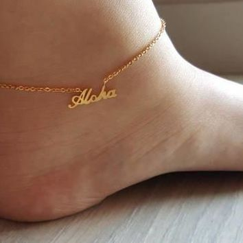 Aloha Hawaiian Anklets Ankle Bracelet Jewelry Stainless Steel Leg Chain