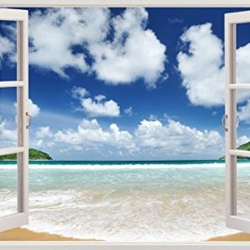 "Amazing Ocean Beach Seascape Sea View Home Office Kitchen Kids Nursery Room Gift 3D Unique Window Depth Style Vinyl Print Removable Wall Sticker Decal Mural Size 19.6"" x 27"" by Bomba-Deal"
