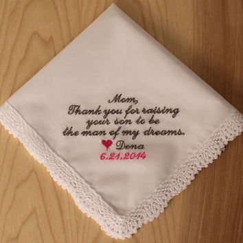 Groom to Parents of the Bride Handkerchief Hanky Thank you for raising Embroidered Personalized Wedding bride gift #1