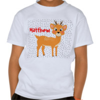 Fun Festive Cute Cartoon Reindeer And Spots T-shirt