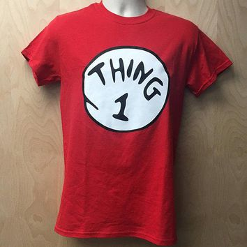 Thing 1 Adult T-Shirt One Tee Shirt Halloween Costume Cosplay Group Siblings Brothers Sisters Couples Thing Shirt Christmas Men's Gift Idea
