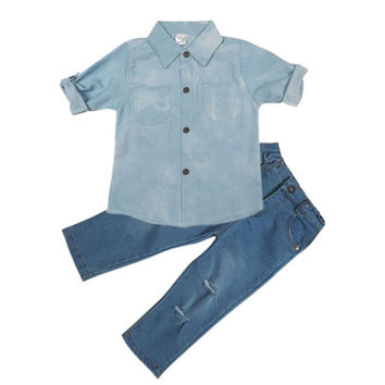 2Pcs Autumn Toddler Baby Clothing Suit Girls Kids Dress T-shirt Tops+ Denim Pants Clothes Outfits Set
