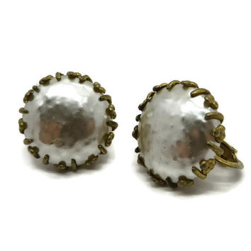 Miriam Haskell Button Earrings, Vintage Faux Pearl Gold Tone Screwback Clip-on Earrings