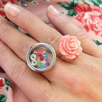NEW TWIST Silver memory floating locket RINGS fit charms owl style rare unique