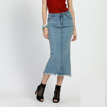 Designer Denim Skirt 2017 Summer England Style Mid-calf Slim Female Pencil Skirt Jeans Skirt High Waisted Maxi Skirts Women