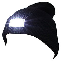 VANKER Popular Winter Outdoor 5-LED Light Headlamp Hat Knitted Cap Hunting Camping Black