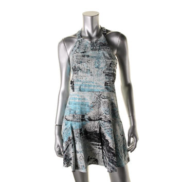 Parker Womens Printed Halter Casual Dress