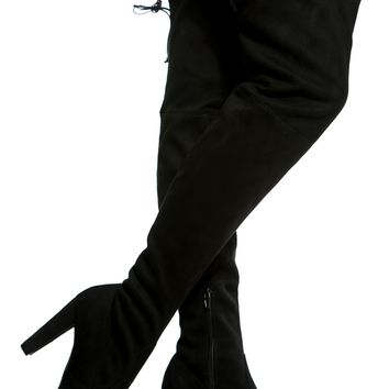 Black Faux Suede Chunky Thigh High Boots @ Cicihot Boots Catalog:women's winter boots,leather thigh high boots,black platform knee high boots,over the knee boots,Go Go boots,cowgirl boots,gladiator boots,womens dress boots,skirt boots.