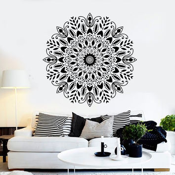 Vinyl Wall Decal Mandala Buddhism Hinduism Yoga Studio Stickers Unique Gift (ig4632)