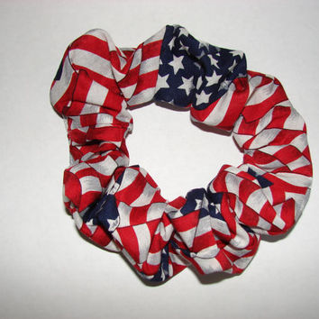 American flag patriotic fabric Hair Scrunchie - USA scrunchies, red white and blue, Americans, liberty, United States