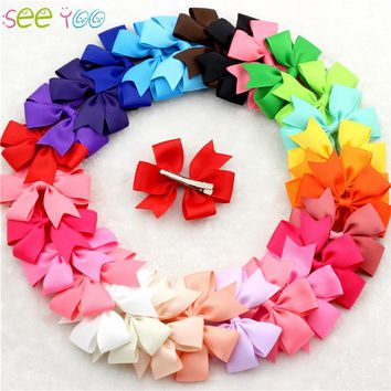30pcs/lot bebe bow clips little Girls hair grosgrain ribbon Bow for hair Boutique hairpins girl hair accessories free shipping