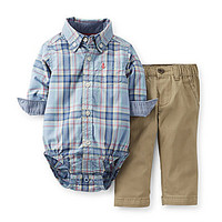 Carter's Newborn-24 Months Plaid Poplin Bodysuit & Twill Pant Set - Bl