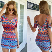 Spaghetti Strap Off Shoulder Bodycon Dress