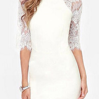 White Round Neck Long Sleeve Lace Bodycon Midi Dress