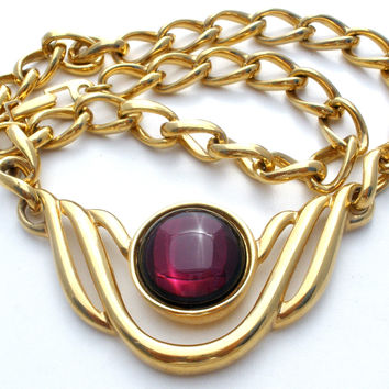 Napier Purple Rhinestone Gold Link Necklace Vintage
