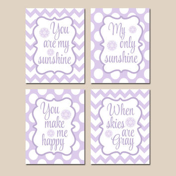 You Are My SUNSHINE Wall Art, CANVAS or Prints, Lilac Aqua Chevron Polka Dots, Baby Girl NURSERY Decor, Nursery Rhyme Song Quote Set of 4