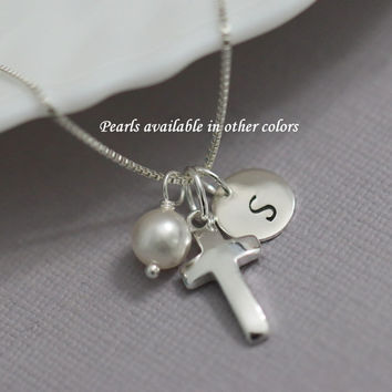 Confirmation Gift, Baptism Gift, Personalized Cross Necklace, Sterling Silver Cross Necklace, Tiny Cross Necklace,  Flower Girl Gift