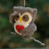 Needle Felted Owl Ornament Searching with Heart by scratchcraft