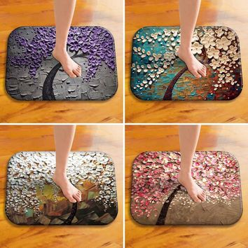 40 x 60cm Vintage Oil Painting Style Flowers Anti-slip Indoor Outdoor Doormat Floor Mat