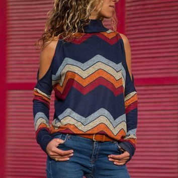Womens Long Sleeve Shirts New 2019 Ladies Jumper Pullover Tops Striped Bare Shoulder Blouse Autumn Winter Elegant Woman Tops Hot