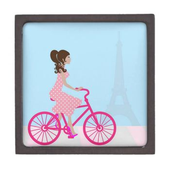 Biking in Paris Premium Jewelry Boxes