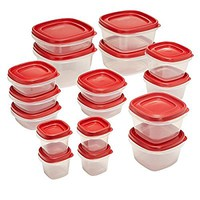 Rubbermaid Easy Find Lids 34-Piece Food Storage Container Set, Red