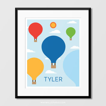 Hot Air Balloons Wall Art (Personalized)