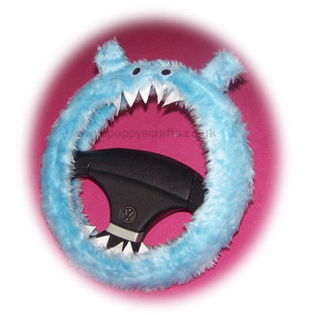cute Fuzzy faux fur Baby Blue monster car steering wheel cover fluffy furry fun