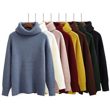 Harajuku Women Solid Color Turtleneck Loose Brief Thermal Thickening Retro Sweater Female Kawaii Knitted Jumper And Pullover