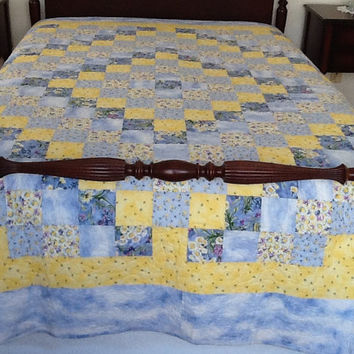 Trip Around The World, Double Quilt, Blue Shabby Chic Handmade Quilt 79 x 94 inches Free Shipping Canada and USA