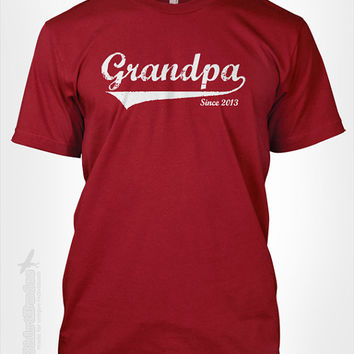 GRANDPA Since (ANY YEAR) vintage - custom gift idea new grandparents Father's day newborn baby shower personalized tshirt t-shirt tee shirt