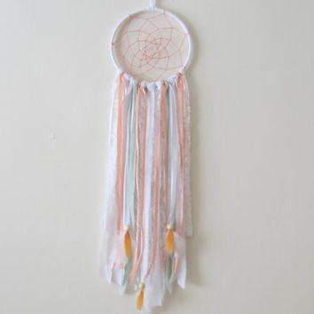 Coral Dreamcatcher, Handmade Dreamcatcher, Nursery Dreamcather, Boho Dreamcatcher, Coral/Light Green/White, Baby Shower Gift, Baby Photo