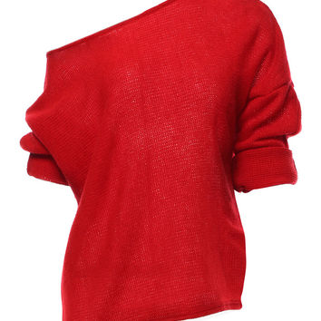 Red Off Shoulder Open Knit Sweater